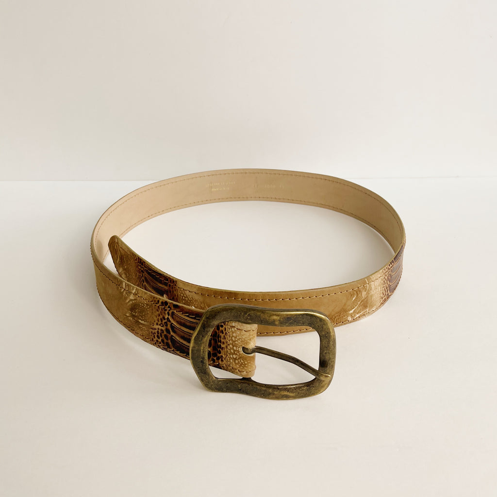Vintage Tonal Croc Leather Belt