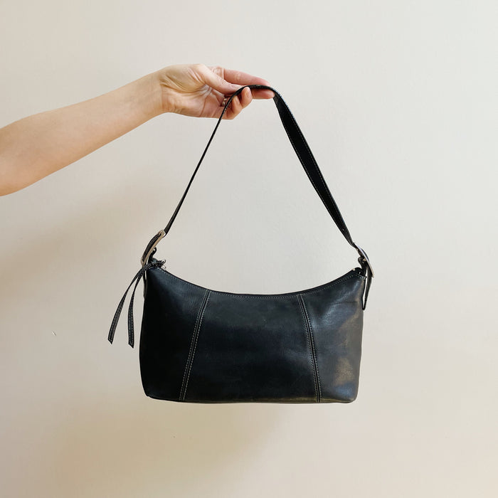 Vintage Soft Black Baguette Bag