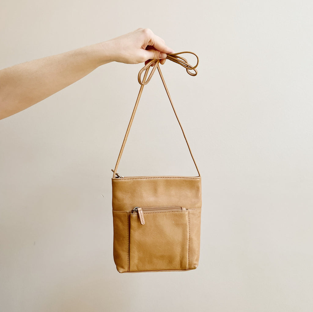 Vintage Latte Leather Crossbody Bag