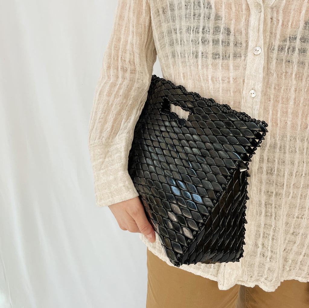 Vintage Obsidian Beaded Handbag