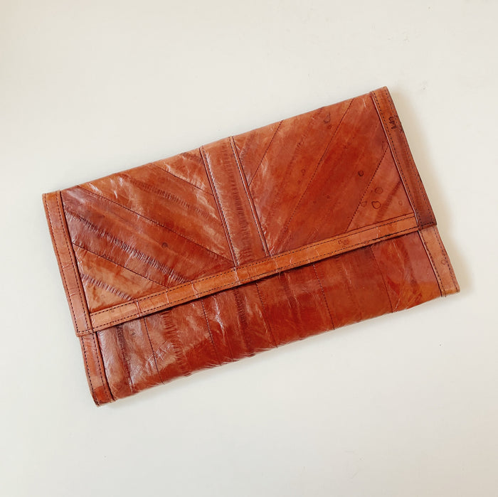 Vintage Teak Leather Envelope Clutch
