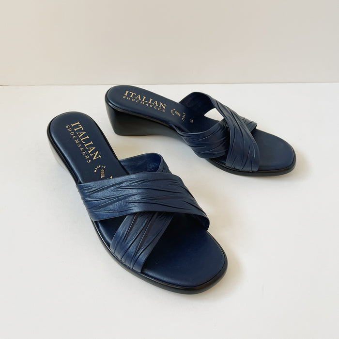 Vintage Indigo Leather Slide On | Size 9