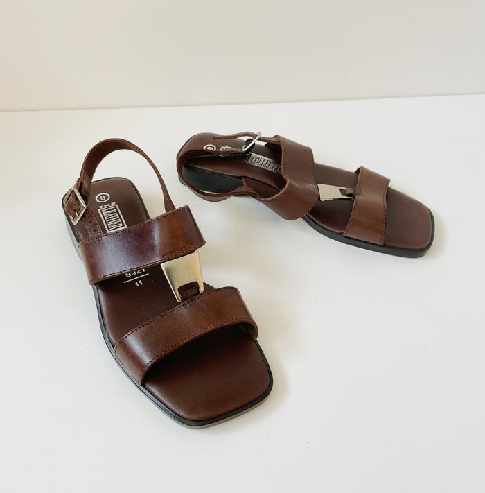 Vintage Chocolate Leather Sandal | Size 8