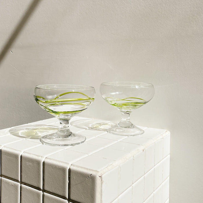 Lime Swirl Saucer Glasses