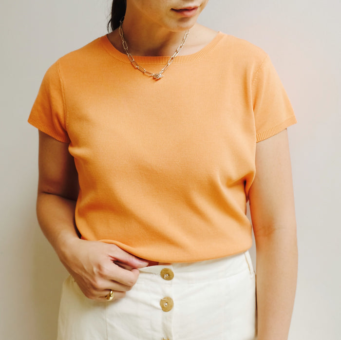 Vintage Tangerine Silk Knit Top