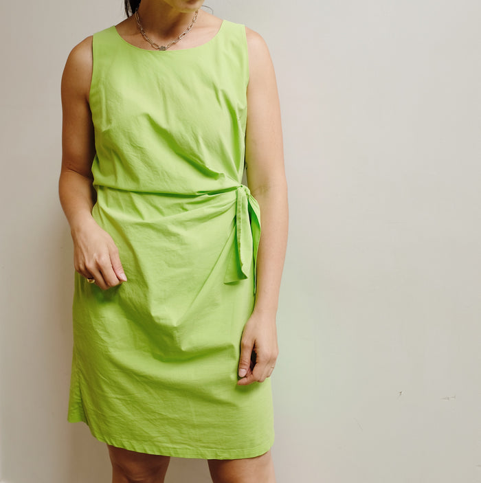 Vintage Lime Cotton Tie Dress