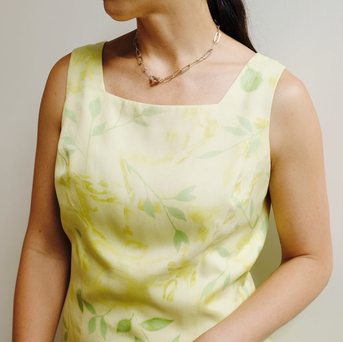 Vintage Lemon Blossom Silk Dress