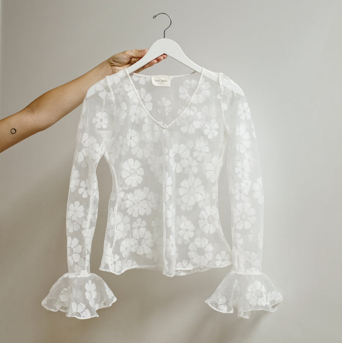 Vintage Sheer Daisy Bell-sleeve Top