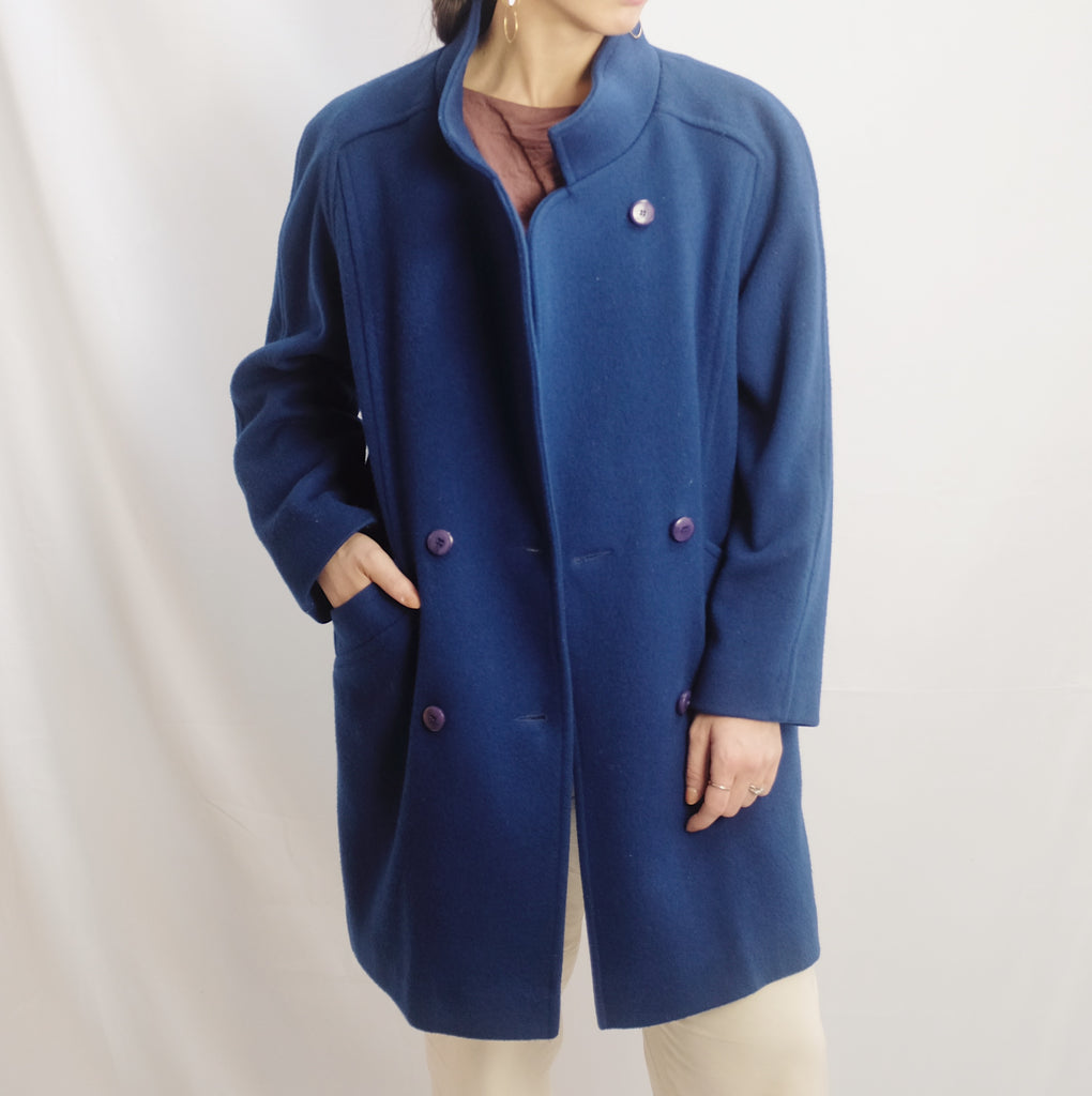 Vintage Cobalt Double Breasted Coat