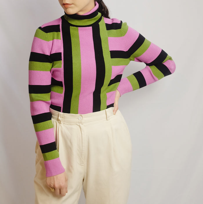 Vintage Striped Silk Turtleneck