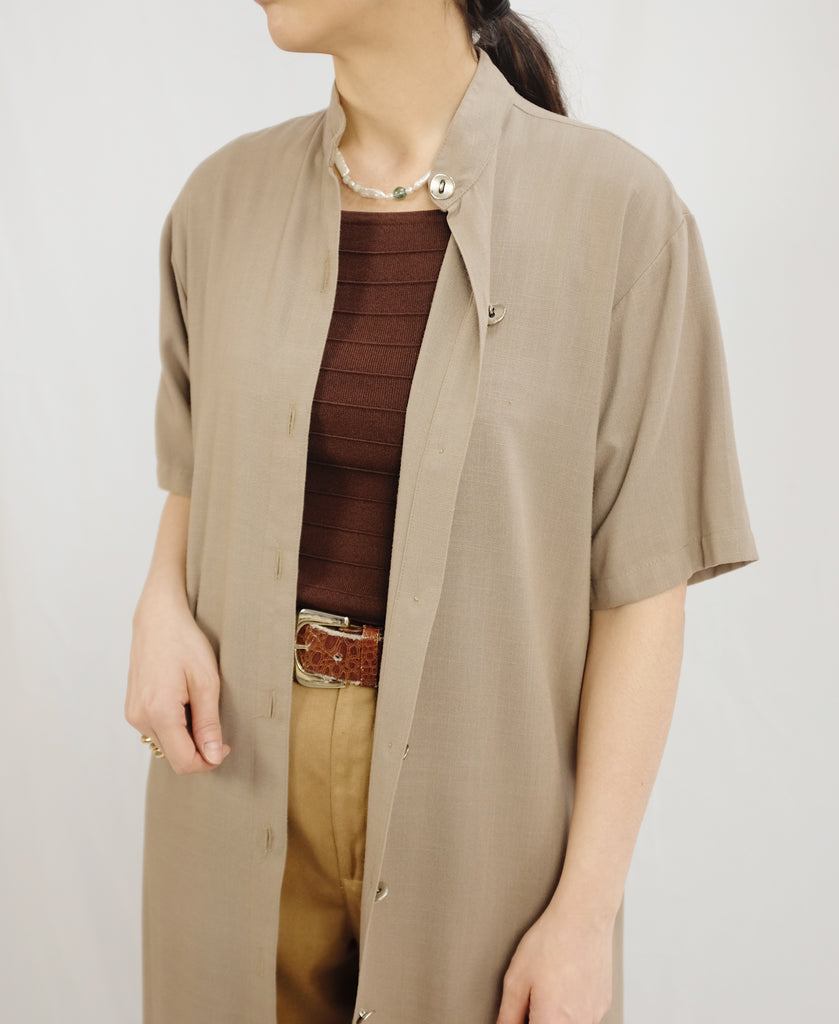 Vintage Taupe Button Up Dress