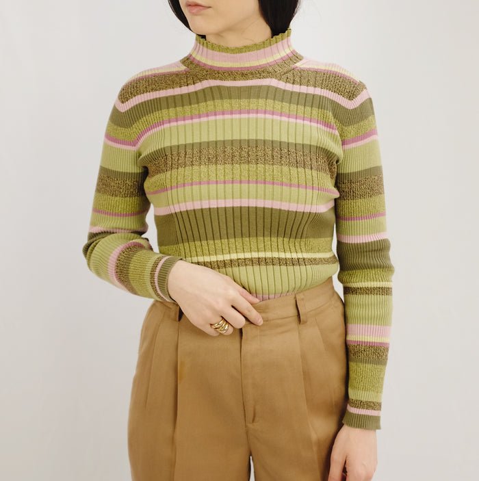 Vintage Sage + Lavender Striped Sweater