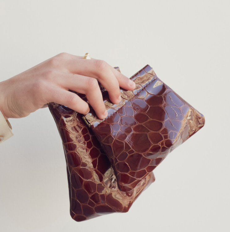 Hannah Emile: Tall Stash Pouch in Oxblood Croc