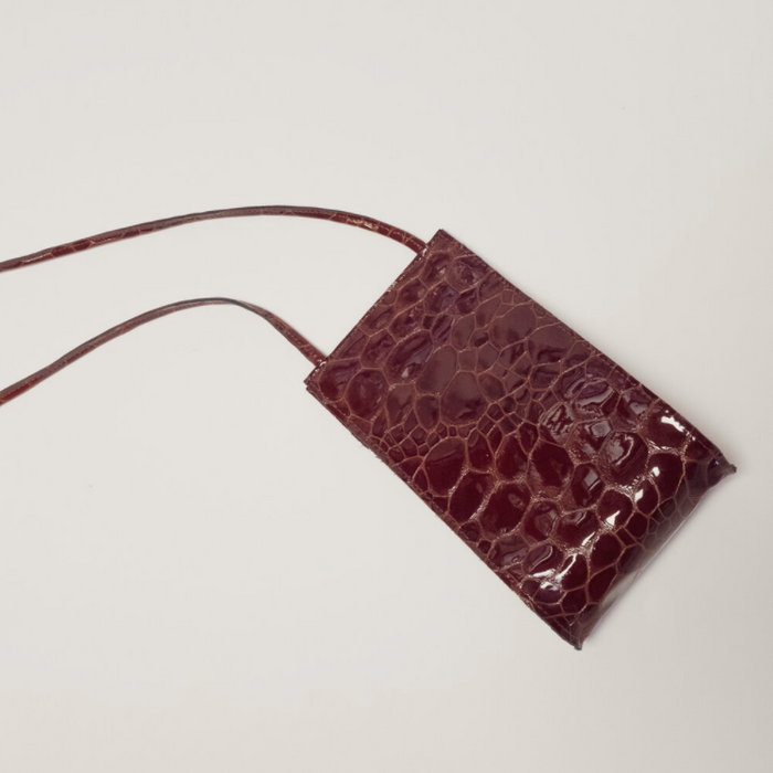 Hannah Emile: Droplet Crossbody in Oxblood Croc