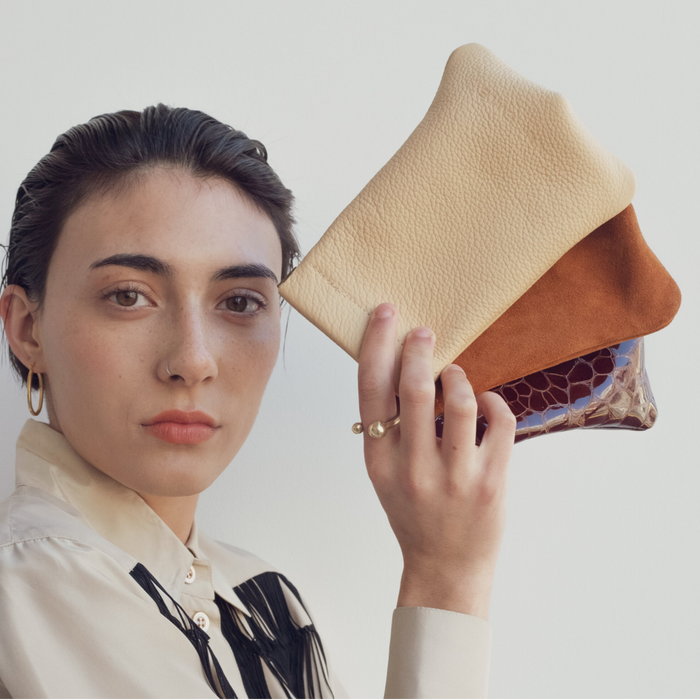 Hannah Emile: Tall Stash Pouch in Butter