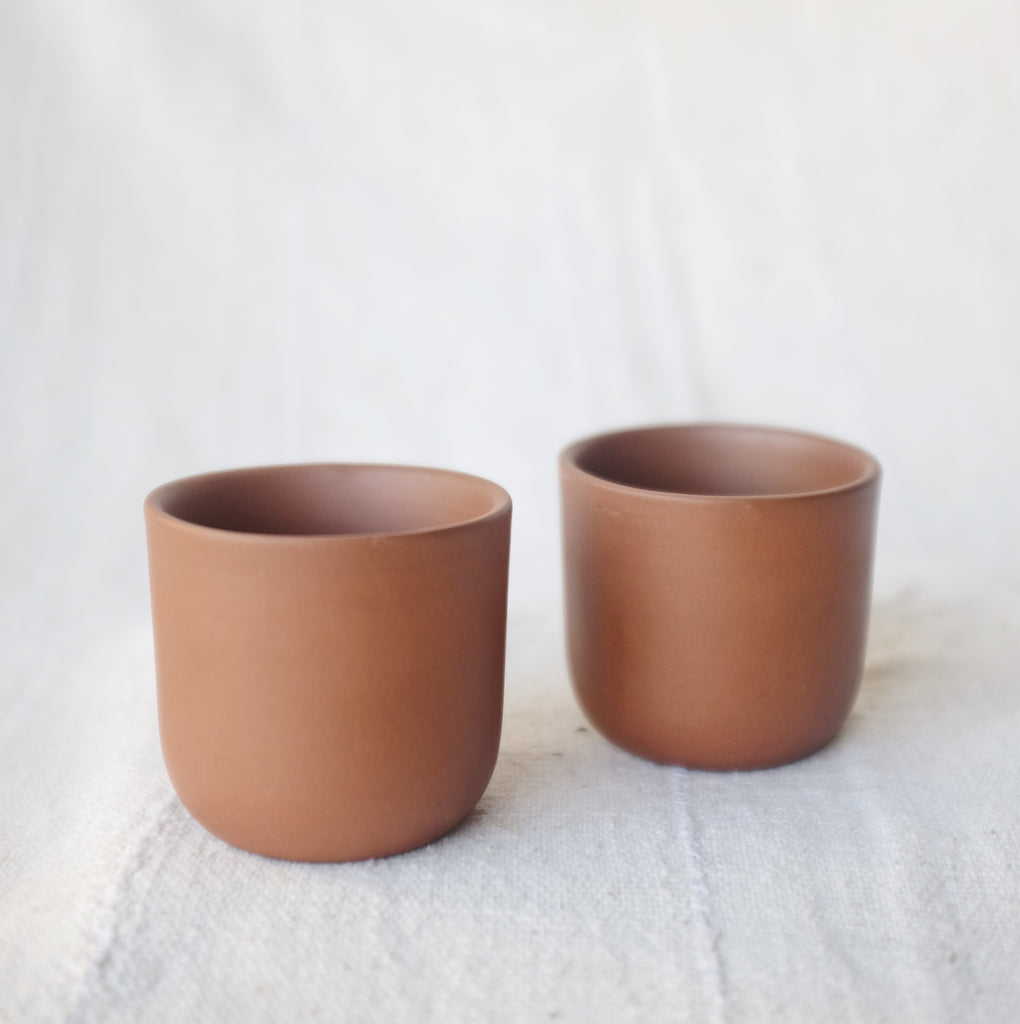 Found Terracotta Tea Pot + Cups