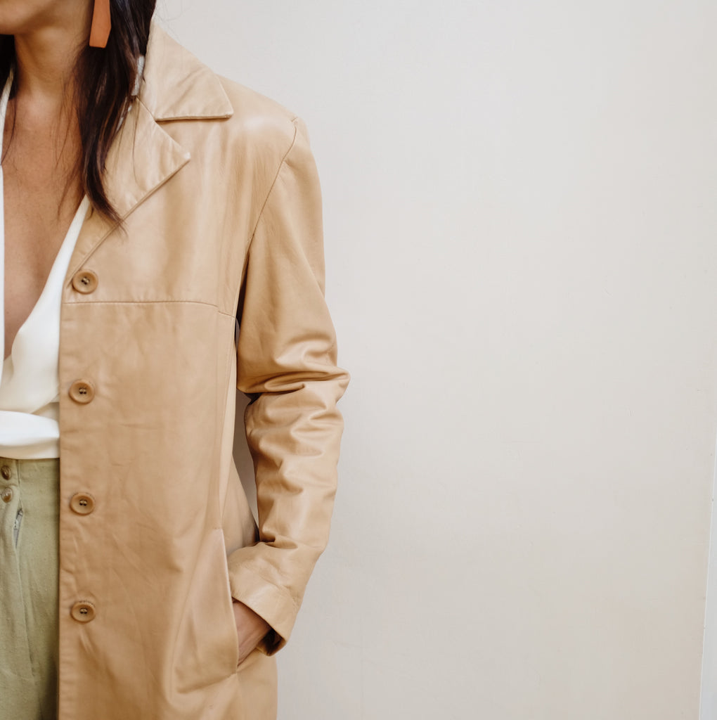 Vintage Tan Midi Leather Jacket