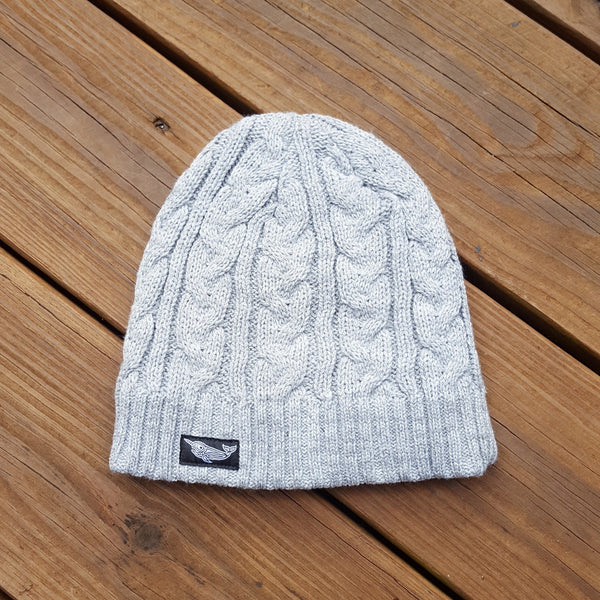 Cable Knit Native Narwhal Beanie (Stone Grey)
