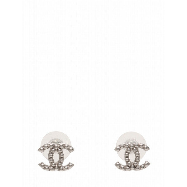 Chanel Coco Metal Silver Pierced Earrings