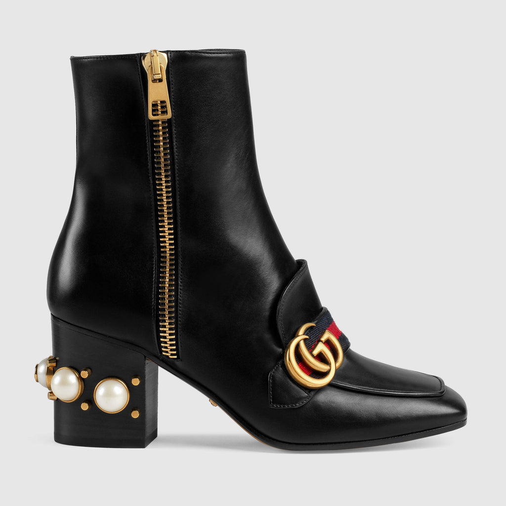 Gucci Leather Mid-Heel Akle Boot