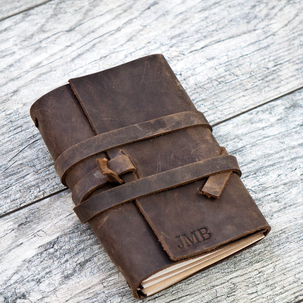 REFILLABLE Personalized Leather Journal (wrap closure)