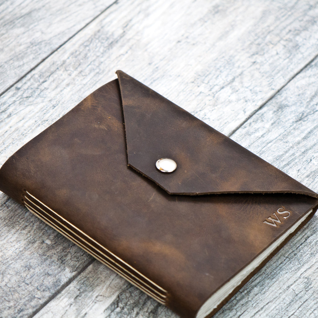 rustic brown personalized leather journal with snap closure a