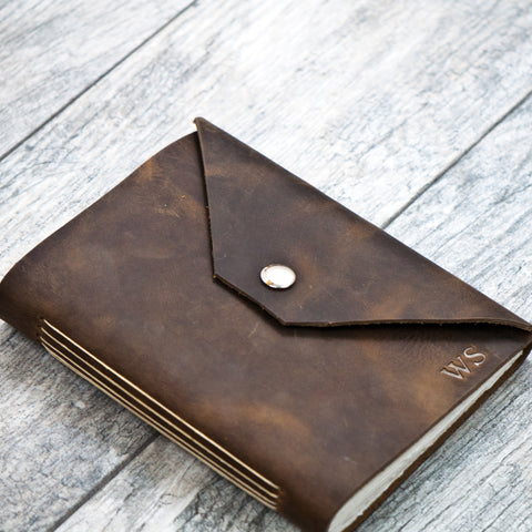 Rustic Brown Personalized Leather Journal with Initials / Name / Date (snap closure)