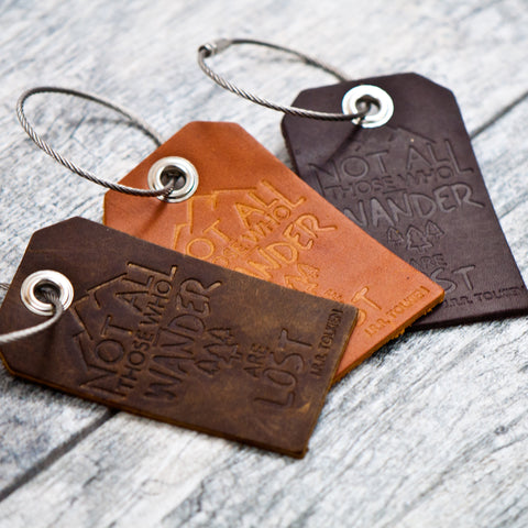 Not All Who Wander Are Lost Leather Luggage Tags