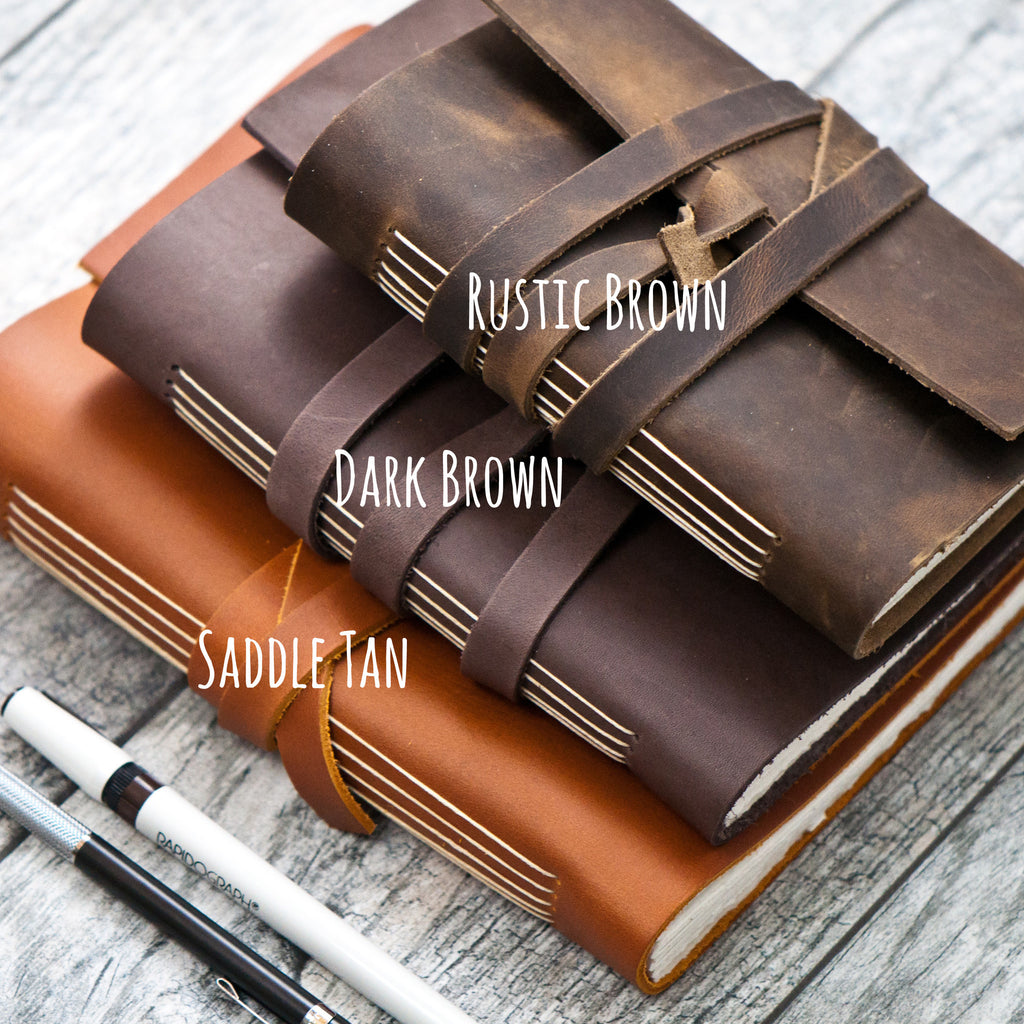 rustic brown personalized leather journal with wrap closure a