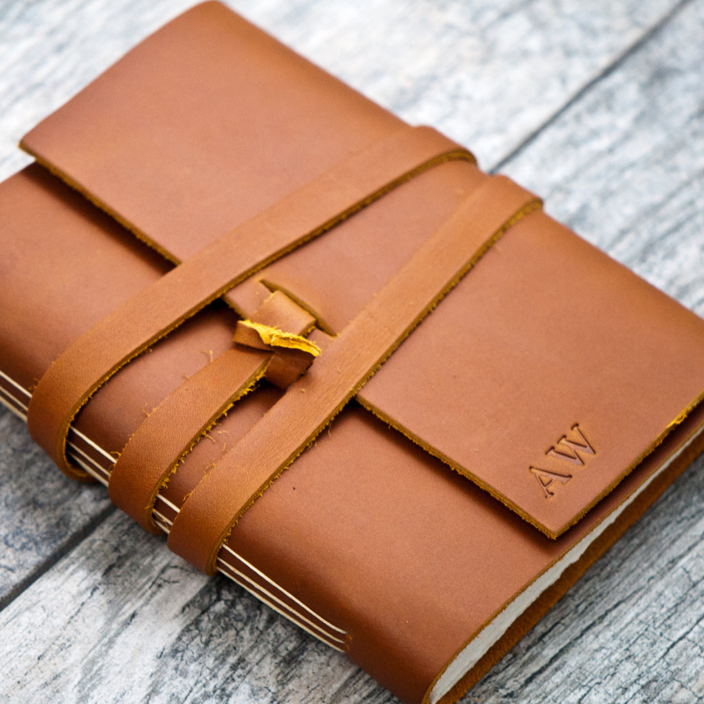 Saddle Tan Personalized Leather Journal with Initials / Name / Date (wrap closure)