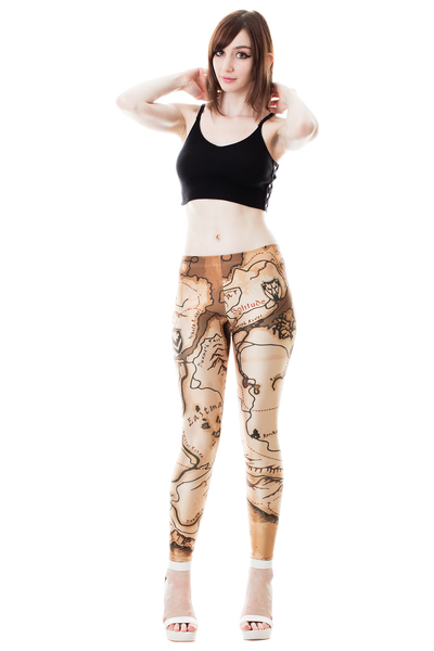 Adventurer Map Leggings - Kittyhawk Clothing
