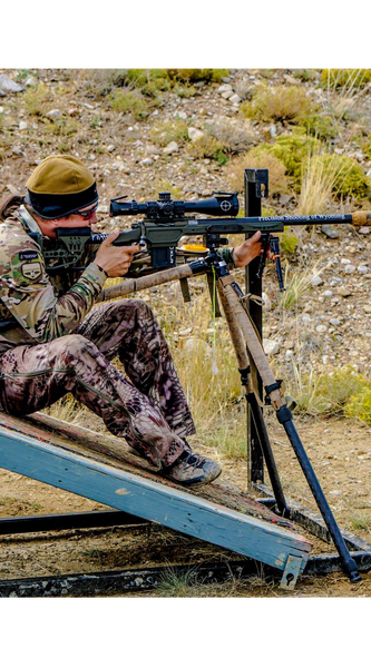 Collin Fossen competing in a Nation Rifle League Precision Rifle Match With his Envy competition Rifle Chassis build
