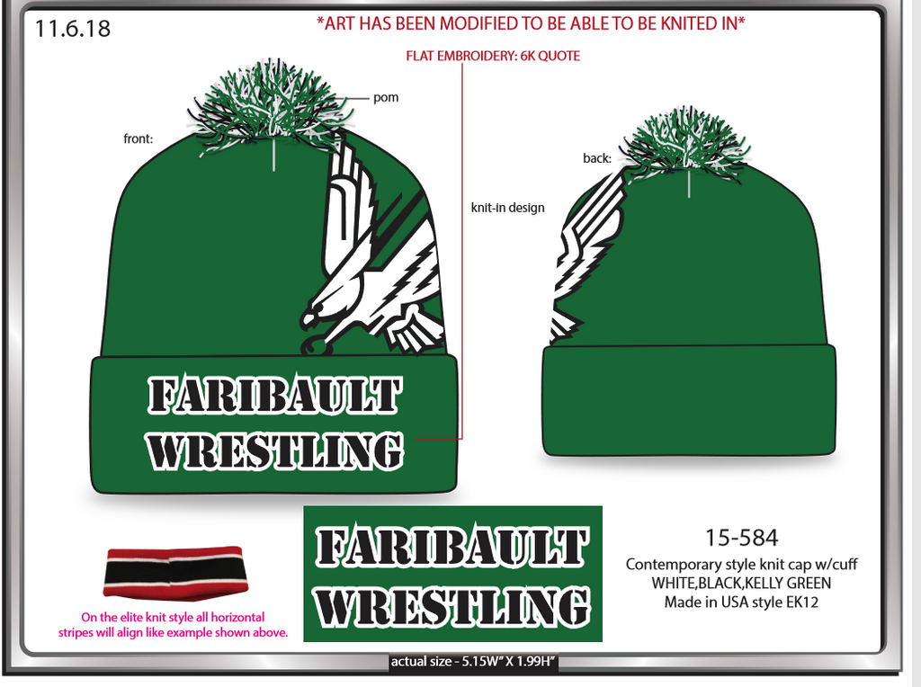Faribault Wrestling Stocking Cap ( while supplies last )