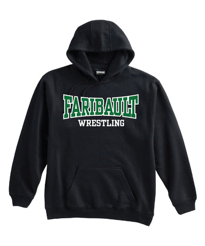 Faribault Wrestling Hoodie TWILL design (Black) - Youth and Adult