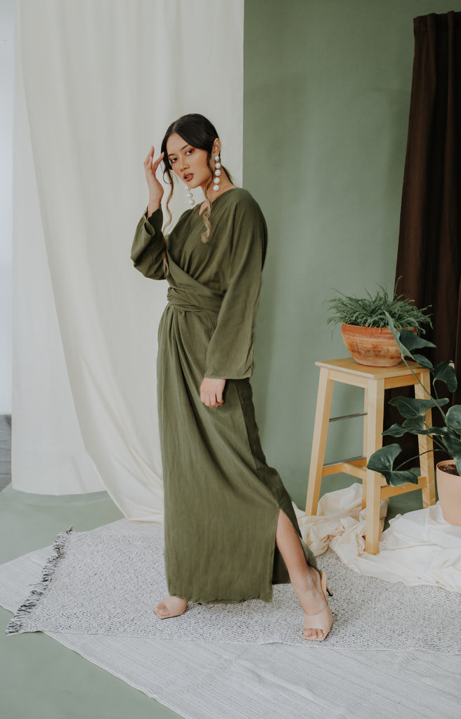 Thar Ikat Dress | Olive