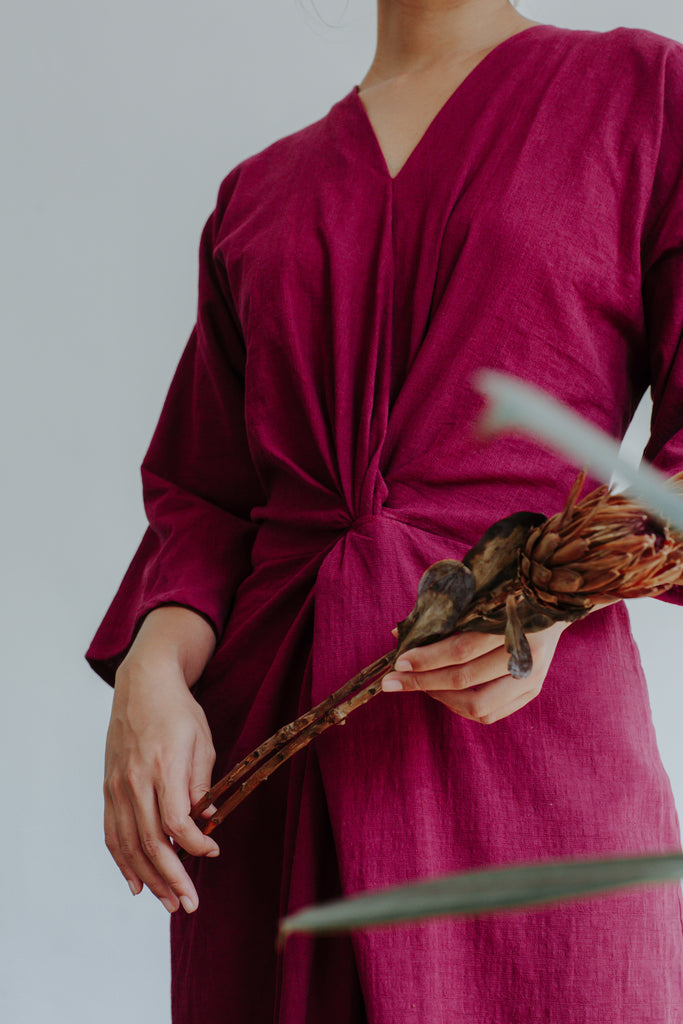 Ikat Dress | Maroon