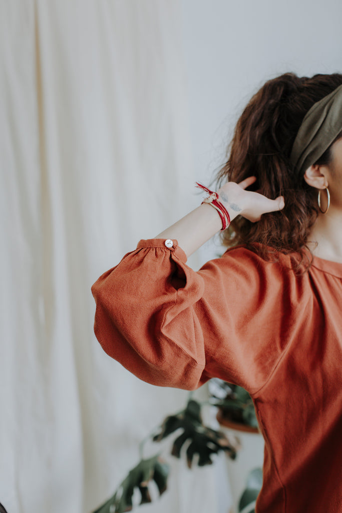 Anna Puffed Sleeve Shirt | Burnt Orange