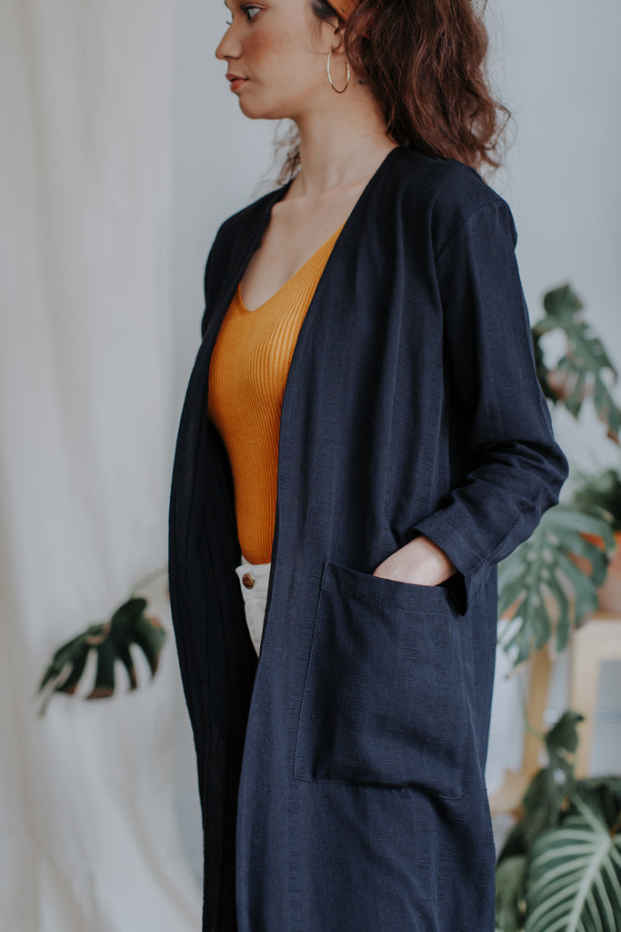 Kayla Long Cardigan | Charcoal