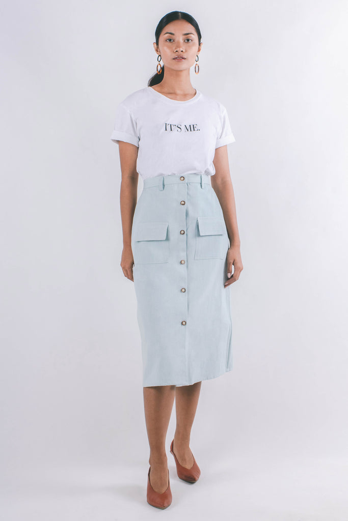 Macy Skirt | Faded Denim