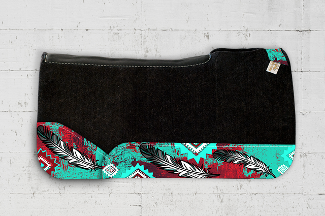 Red Turquoise Feather Saddle Pad
