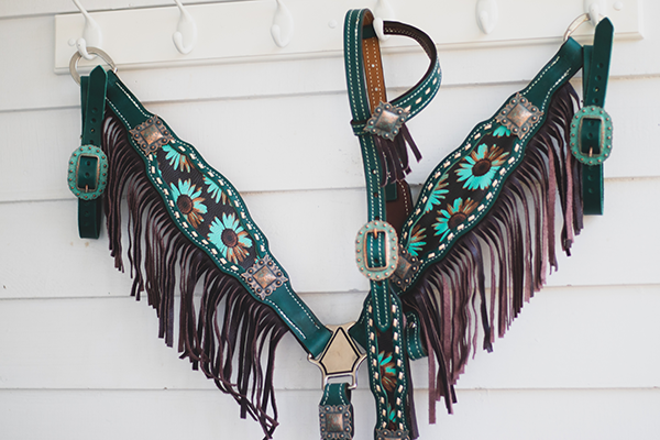 Shelby Sunflower Breastcollar / Tack Set  [ inlay design ]