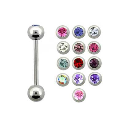 Barbell Stainless Steel Jewelled 1.6mm BJ1006J - Rossan Distributors