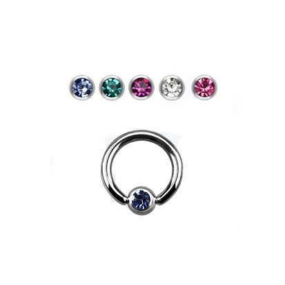 Ball Closure Ring Jewelled 1.6mm x 10mm BJ1058.10 - Rossan Distributors