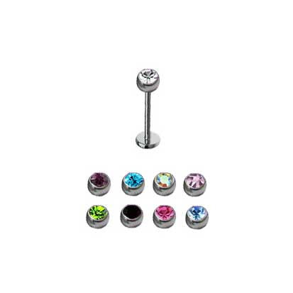Labret Stainless Steel  Jewelled Micro 1.2mm BJ1060J - Rossan Distributors