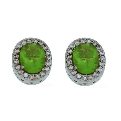 Oval Stone with Peridot Cubic Zirconias FE4270 - Rossan Distributors