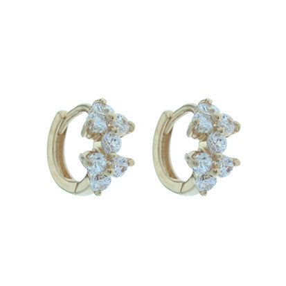 Cubic Zirconia 2 Flower Huggy FE4484 - Rossan Distributors