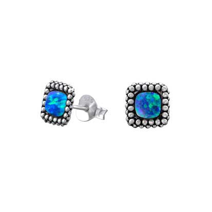 Silver Square Stud with Peacock Opal FE4565P