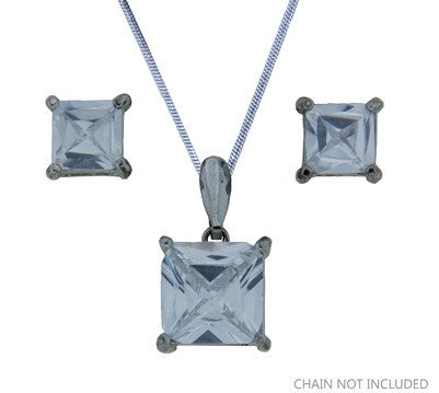 Cubic Zirconia Pendant Set Square FE4590 - Rossan Distributors