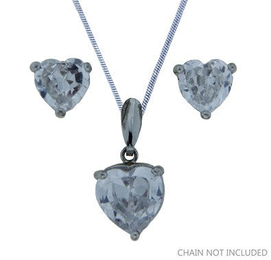 Cubic Zirconia Pendant Set Heart FE4592 - Rossan Distributors
