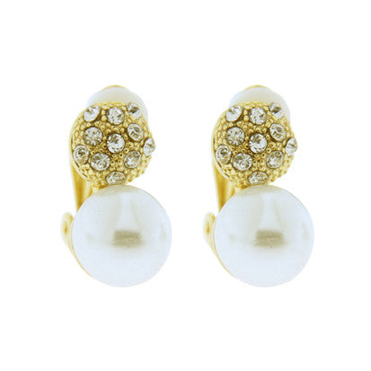 Pearl with Cubic Zirconia Disc Clip-On Earring FE4812 - Rossan Distributors